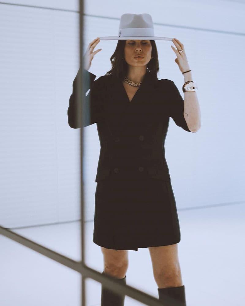 Chapeau en Feutre de Laine - Large Bordure Gris Clair - Style Fedora Unisexe