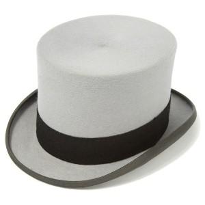 Chapeau haut de forme en feutre de fourrure gris Christys