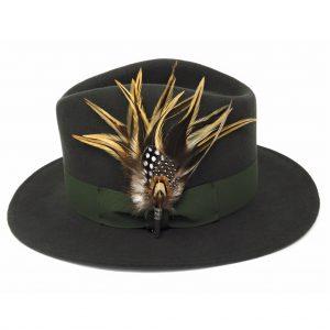 Chapeau Fedora Burford avec broche en plumes de pays