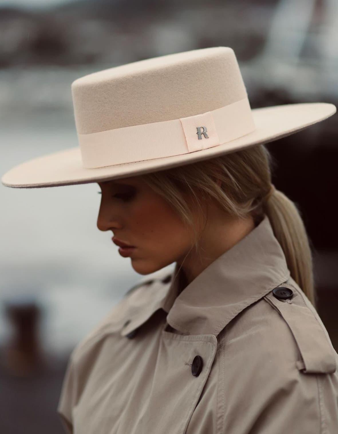 chapeau d'hiver en feutre style canotier